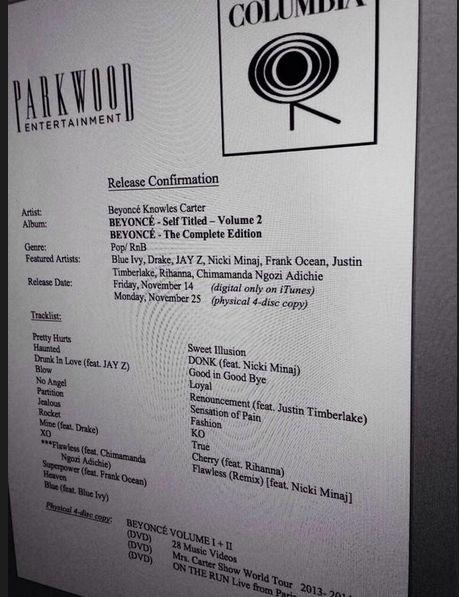 Beyonce album leak