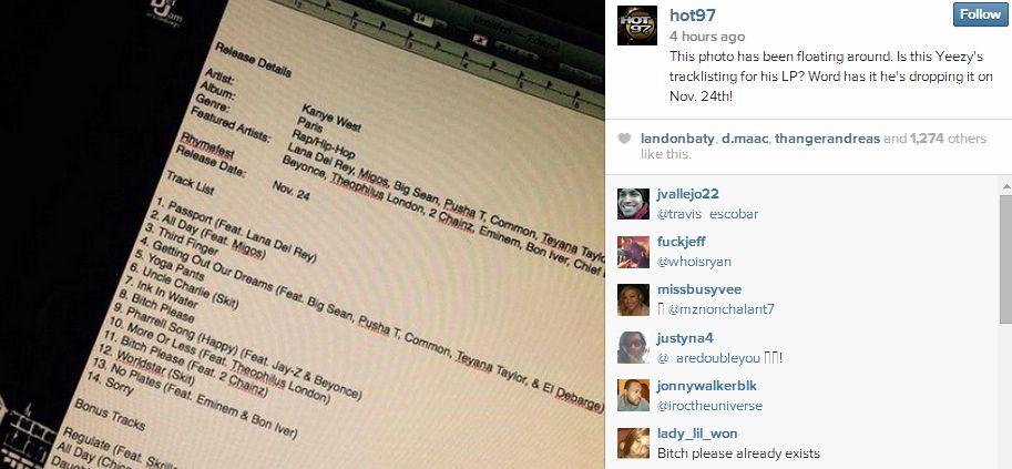 Kanye tracklist