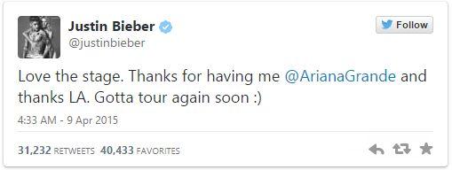 Justin Bieber tweet