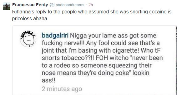 Rihanna coke tweet