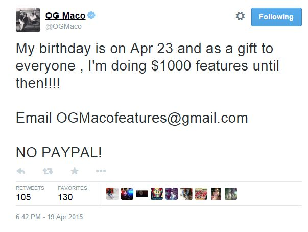 OG maco feature tweet
