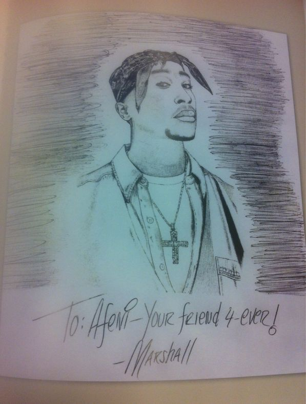 Eminem's drawing of Tupac