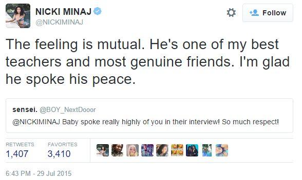 Nicki Tweet baby