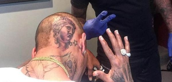 Chris Brown Just Got A Big Strange Tattoo On His Head