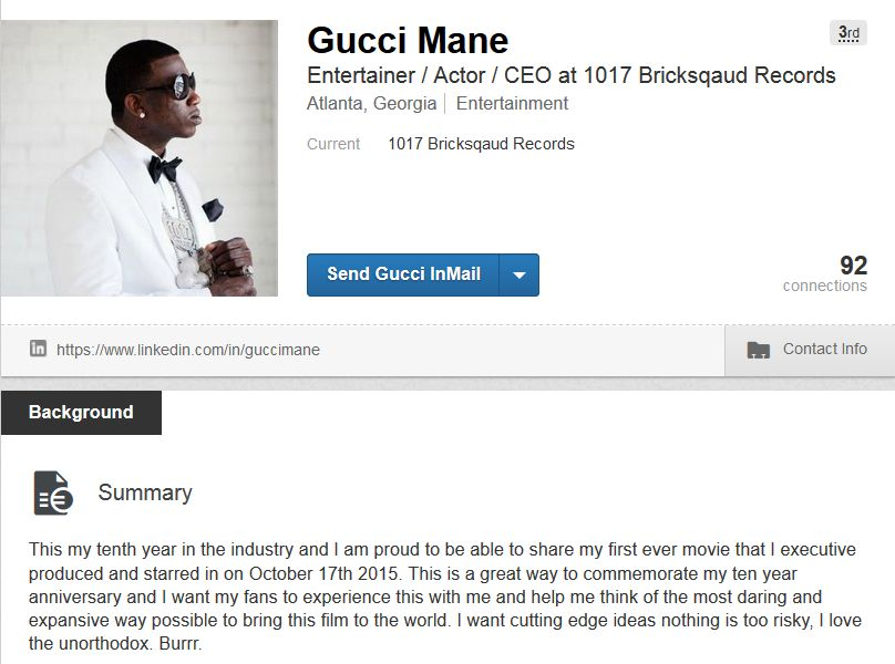 gucci manes new linkedin page has twitter entertained