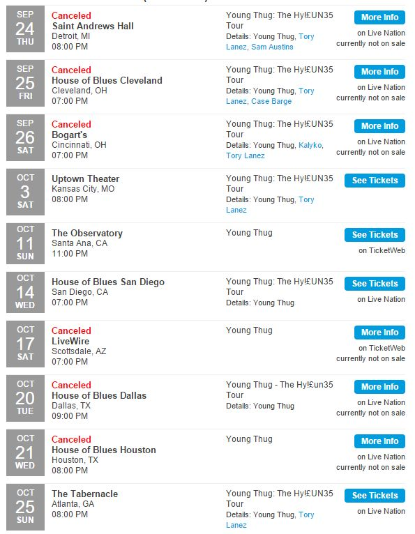 Young Thug tour