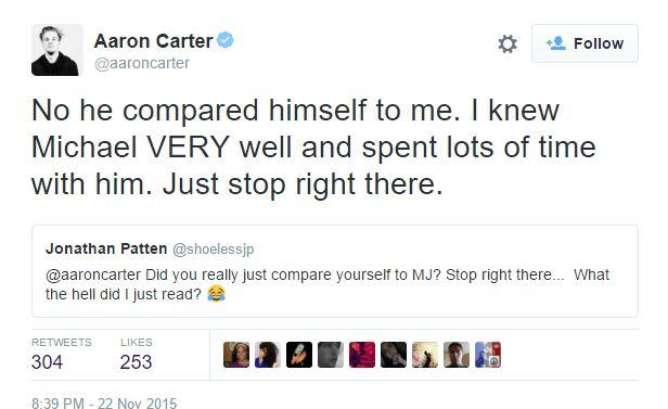 Aaron Carter tweet