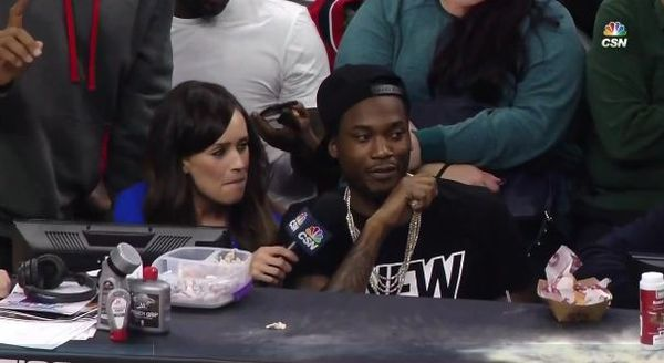 Poor Meek Mill Got Asked A Drake Question During Sixers Game