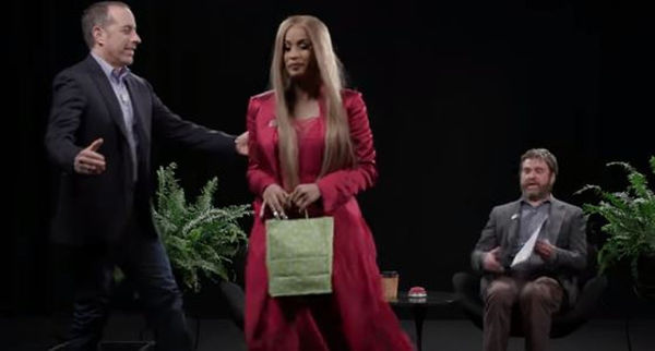 "Cardi B Curves Jerry Seinfeld On ""Between Two Ferns"""