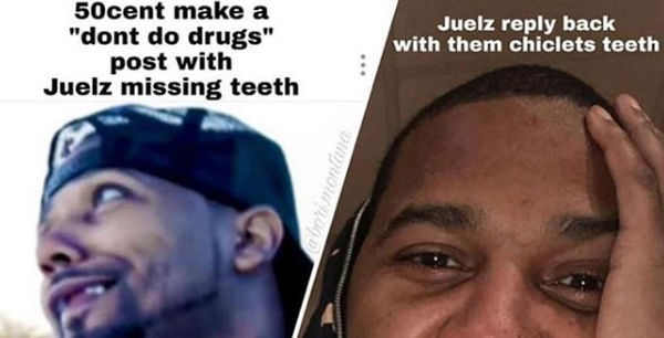 50 Cent Can't Stop, Won't Stop Trolling Juelz Santana's Lack Of Teeth