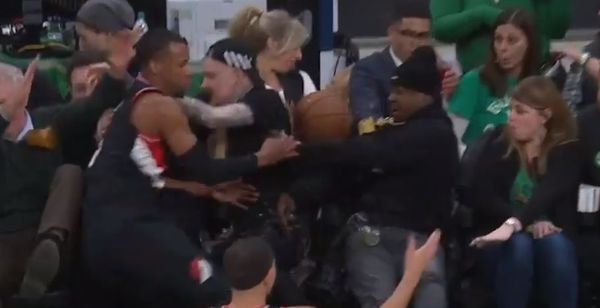 Jadakiss Takes One In the Face During Celtics Blazers Game