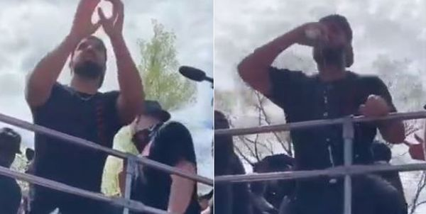 Drake Caught A Beer During Raptors Victory Parade & Attempted To Chug