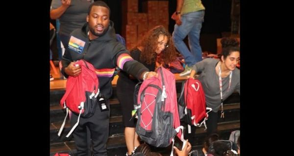 Meek Mill Gives Out Hundreds Of Backpacks At Philly Elementary School