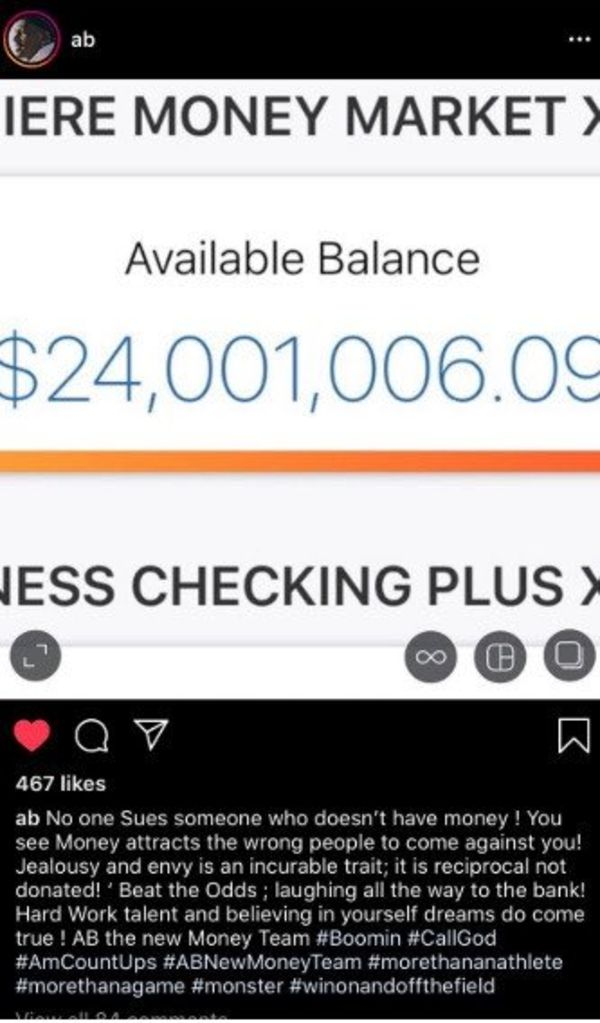 Antonio Brown Flashes His Bank Account On Instagram