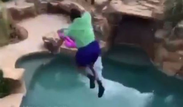 Watch Blocboy JB Fail To Land Jump From Balcony To Pool