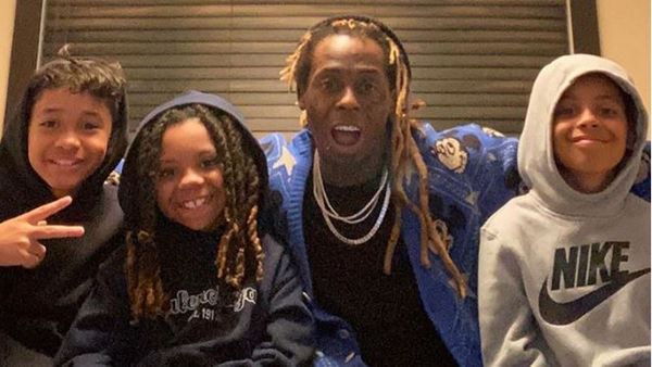 Lil Wayne Poses With His Look-A-Like Sons Dwayne III, Kameron and Neal