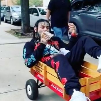 Tekashi 6ix9ine Rolls Through New York Blasting DMX & Eating An Ice Cream Sandwich